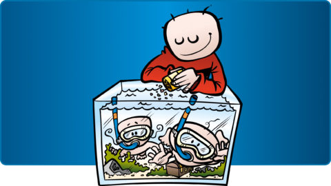 Värsta pappan, akvarium. Barn i akvarium med sn orkel