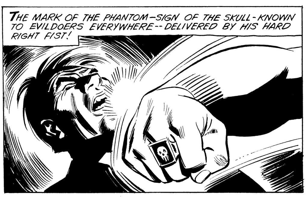 Fantomen utdelar en knytnäve.