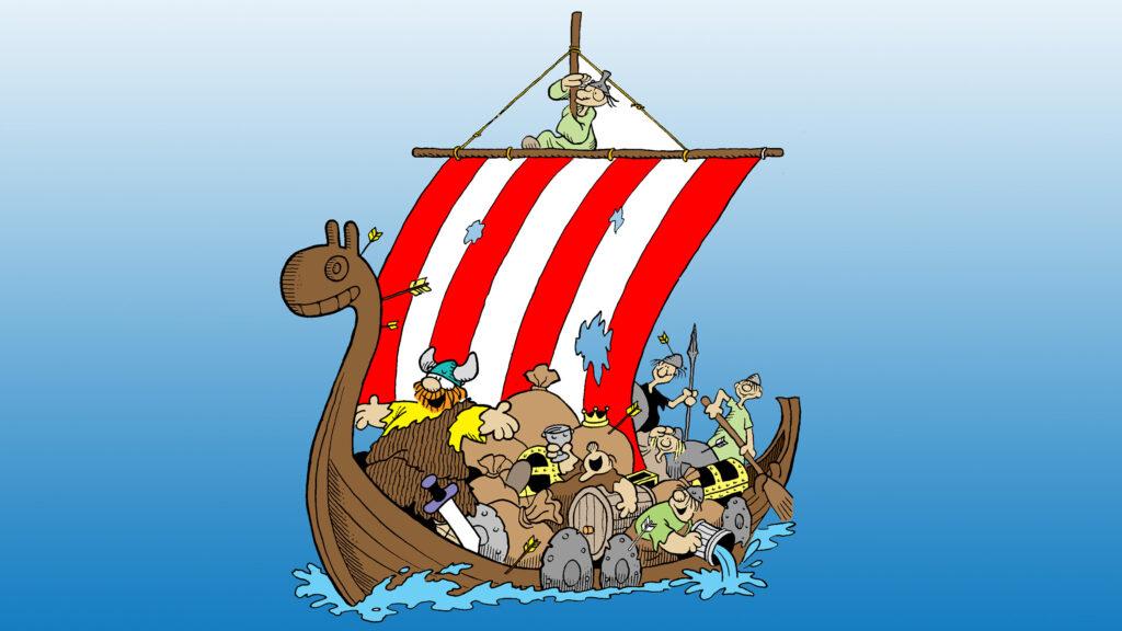 Hagbard och hans här på en vikingabåt.